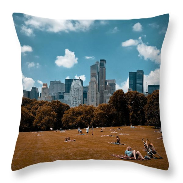 Surreal Summer Day in Central Park Throw Pillow by Amy Cicconi