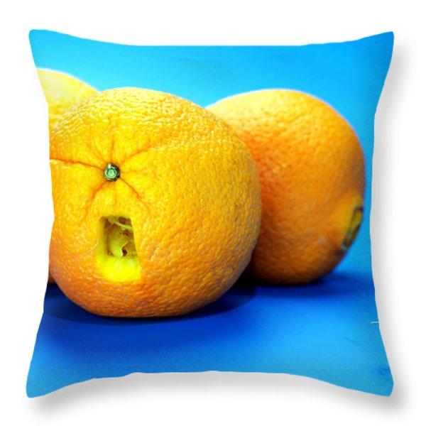 Surrender Mr. Oranges Little People On Food Throw Pillow by Paul Ge