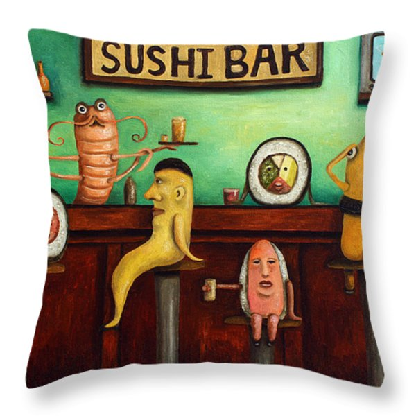 Sushi Bar Improved Image Throw Pillow by Leah Saulnier The Painting Maniac