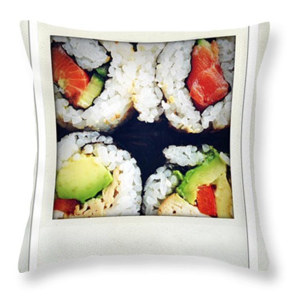 Sushi Throw Pillow by Les Cunliffe