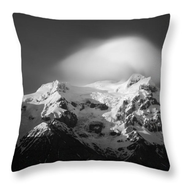 Svinafell Mountains Throw Pillow by Dave Bowman