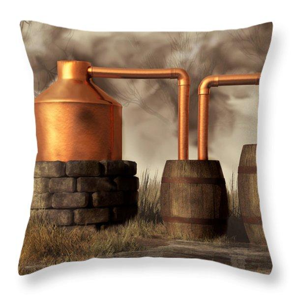 Swamp Moonshine Still Throw Pillow by Daniel Eskridge