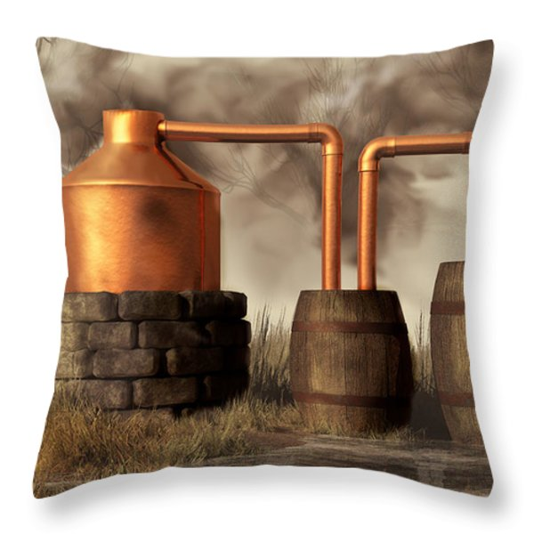 Swamp Moonshine Still Throw Pillow by Daniel Eskridge
