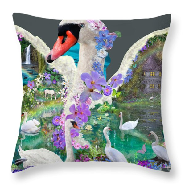 Swan Day Dream Throw Pillow by Alixandra Mullins