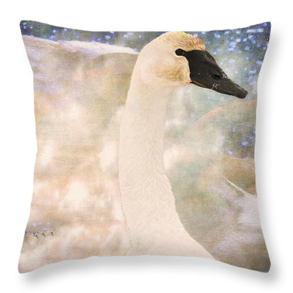 Swan Journey Throw Pillow by Kathy Bassett