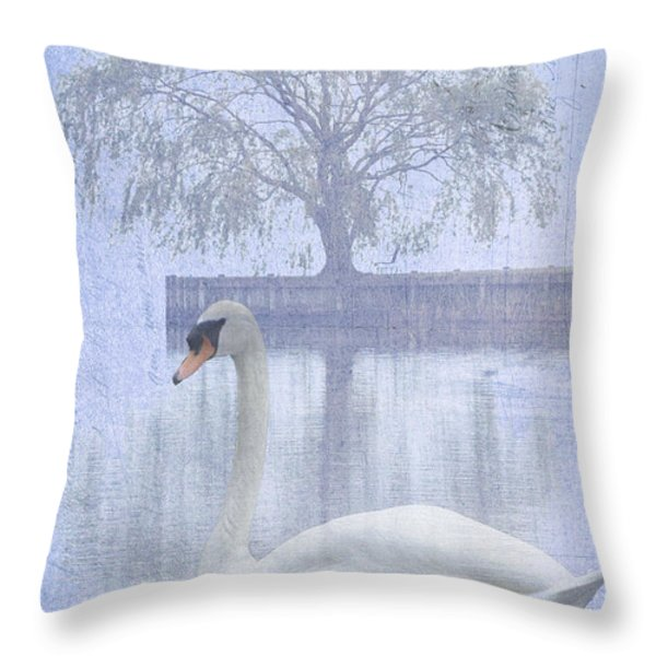 Swan Lake By A Tree Throw Pillow by Adspice Studios