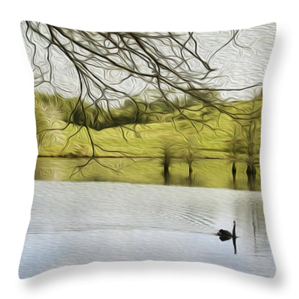 Swan lake Throw Pillow by Les Cunliffe
