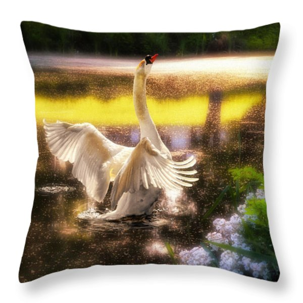 Swan Lake Throw Pillow by Lois Bryan
