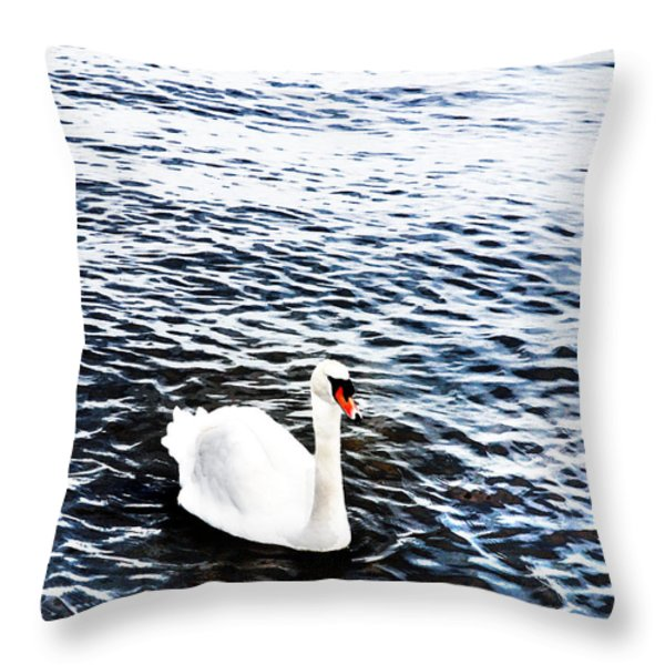 Swan Throw Pillow by Mark Rogan