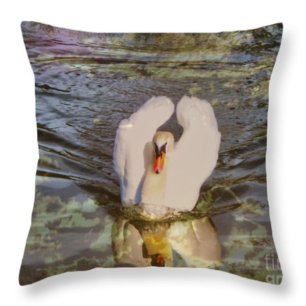 Swan Reflections Throw Pillow by Cheryl Young