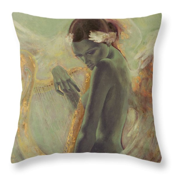 Swan Song Throw Pillow by Dorina  Costras