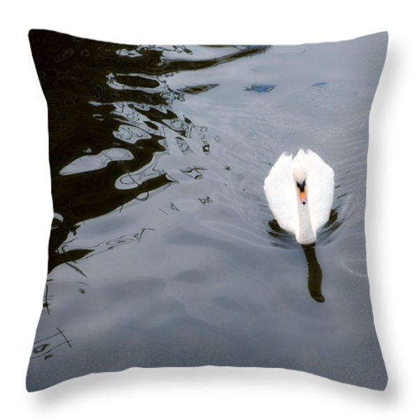 Swan Song Throw Pillow by Rebecca Cozart
