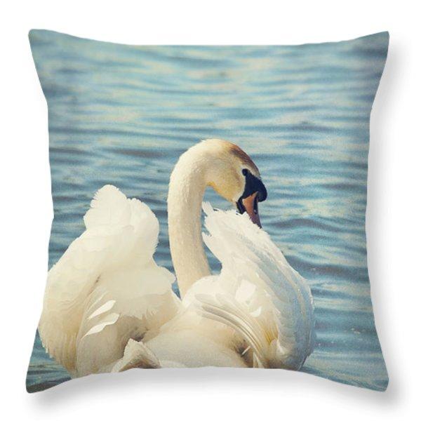 Swan Throw Pillow by Svetlana Sewell