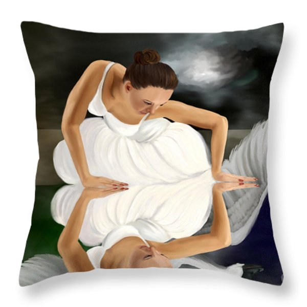Swans Throw Pillow by Sydne Archambault