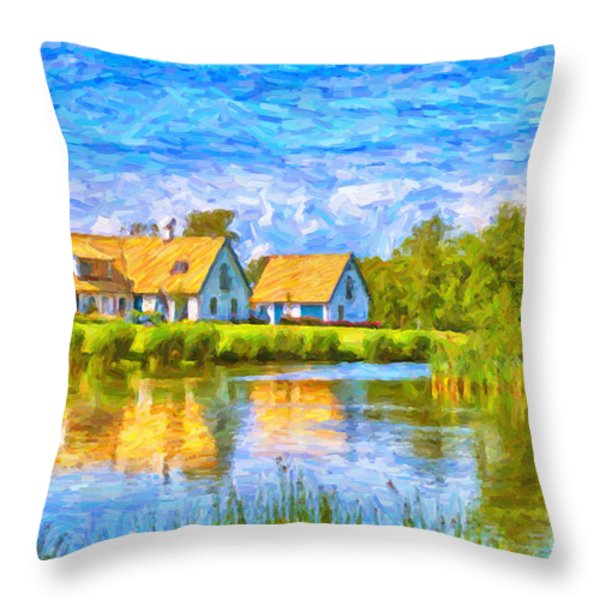 Swedish lakehouse Throw Pillow by Antony McAulay