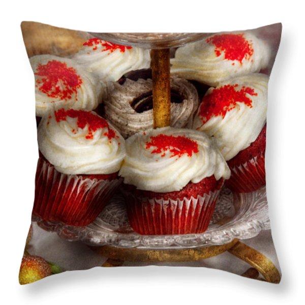 Sweet - Cupcake - Red velvet cupcakes  Throw Pillow by Mike Savad