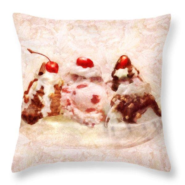 Sweet - Ice Cream - Banana split Throw Pillow by Mike Savad