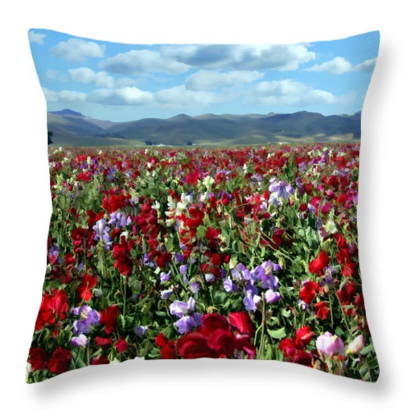 Sweet Peas Forever Throw Pillow by Kurt Van Wagner