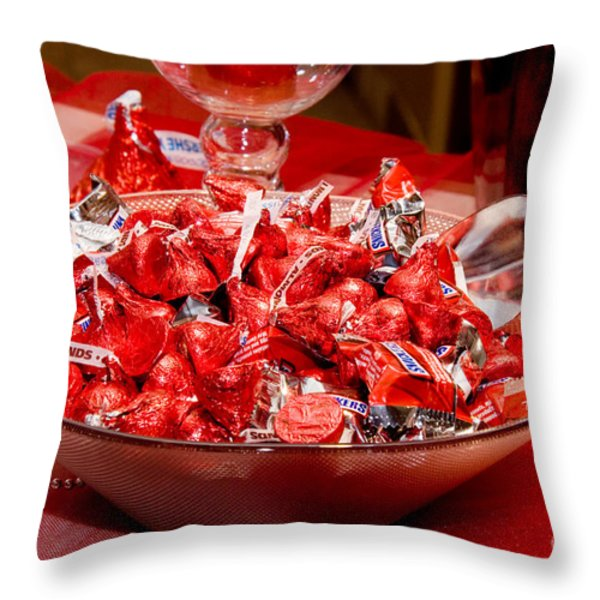 Sweet Red Chocolaty Kisses Throw Pillow by Andee Design