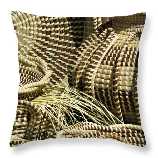Sweetgrass Baskets - D002362 Throw Pillow by Daniel Dempster