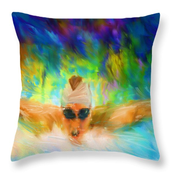 Swimming Fast Throw Pillow by Lourry Legarde