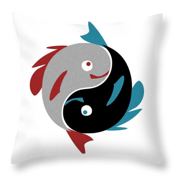 Swimming in Harmony Throw Pillow by Anastasiya Malakhova