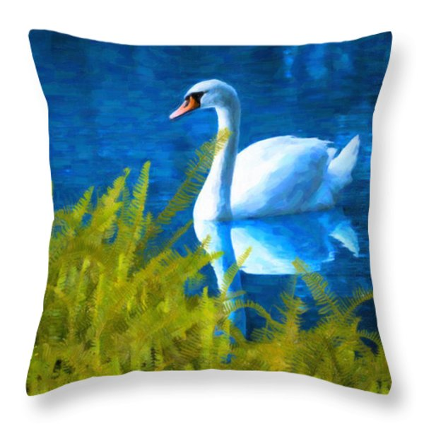 Swimming Swan And Ferns Throw Pillow by Kenny Francis