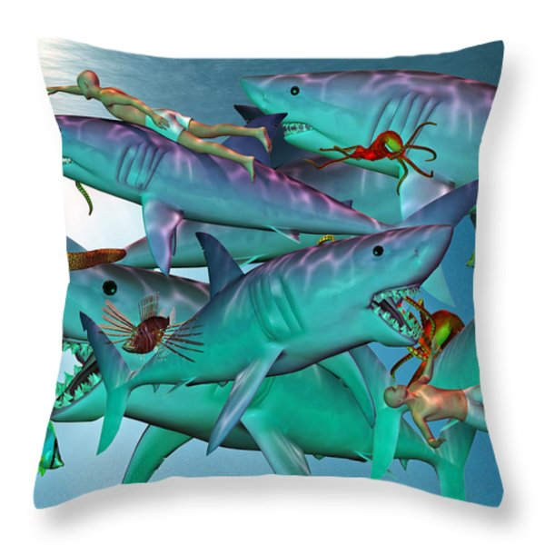 Swimming with the Big Boys Throw Pillow by Betsy A  Cutler