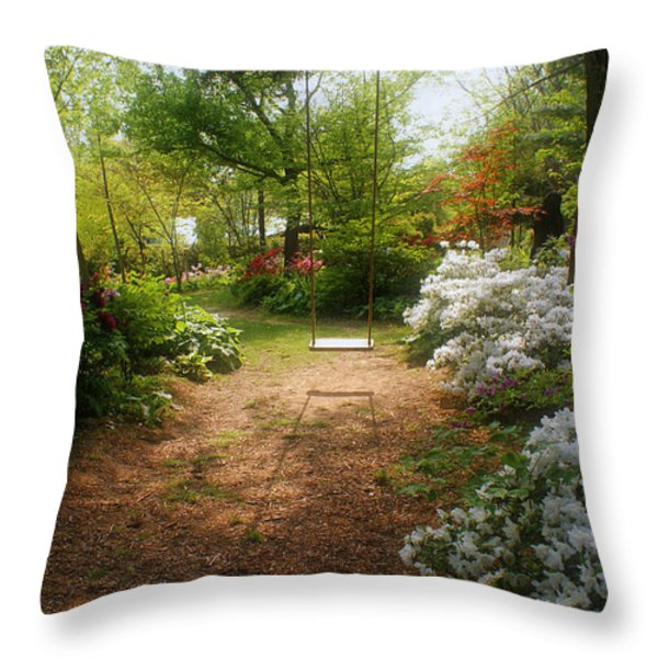 Swing in the Garden Throw Pillow by Sandy Keeton