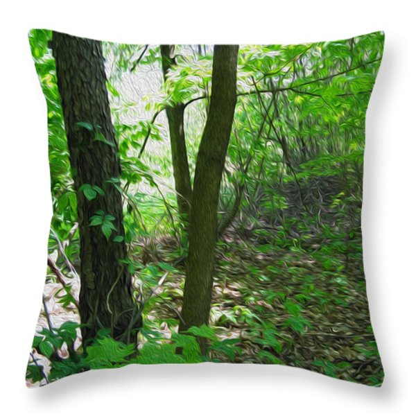 Swirled Forest 1 - Digital Painting Effect Throw Pillow by Rhonda Barrett
