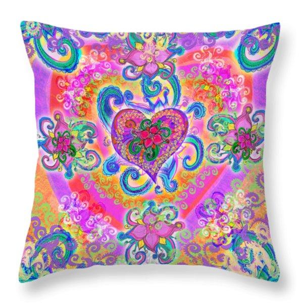 Swirley Heart Variant 1 Throw Pillow by Alixandra Mullins