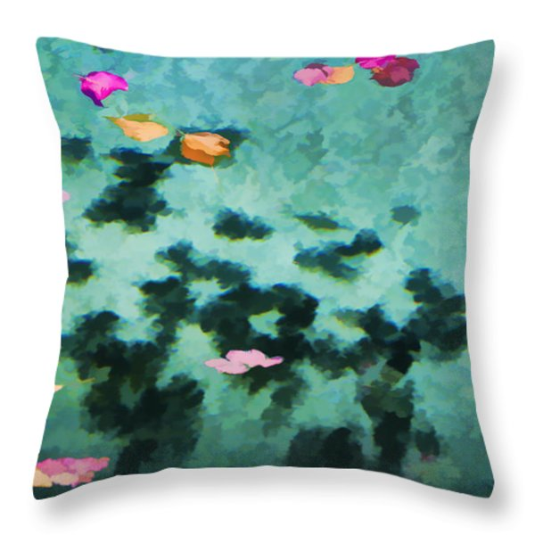 Swirling Leaves And Petals 4 Throw Pillow by Scott Campbell