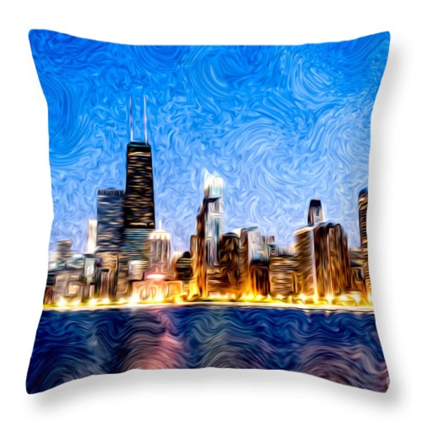 Swirly Chicago At Night Throw Pillow by Paul Velgos