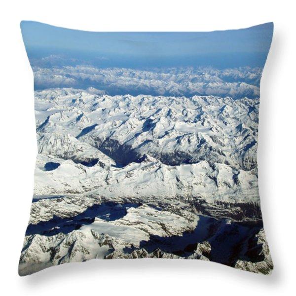 Swiss Alps Throw Pillow by Ellen Henneke