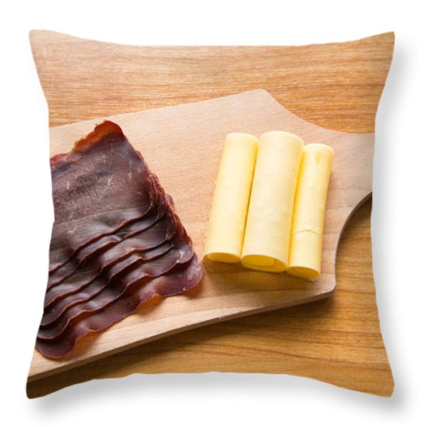 Swiss food - dried meat and cheese Throw Pillow by Matthias Hauser