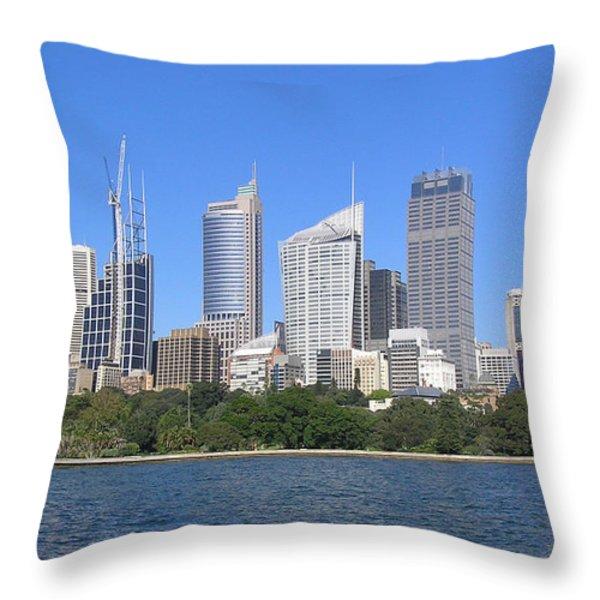Sydney Skyline Throw Pillow by Simon Alvinge