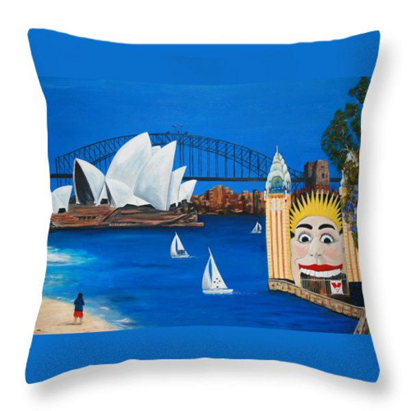 Sydneyscape - Featuring Luna Park  Throw Pillow by Lyndsey Hatchwell