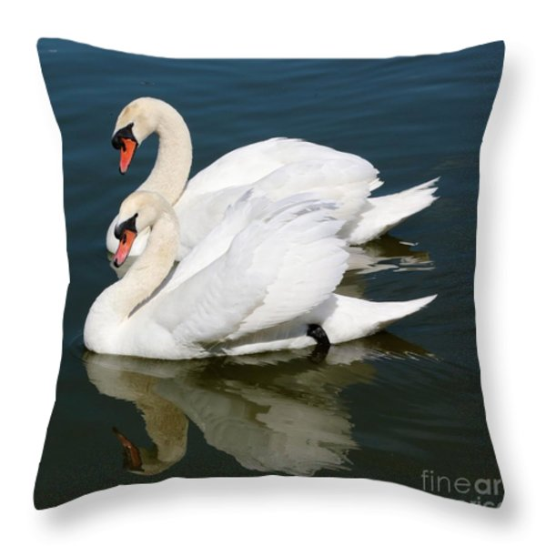 Synchronized Swans Throw Pillow by Carol Groenen