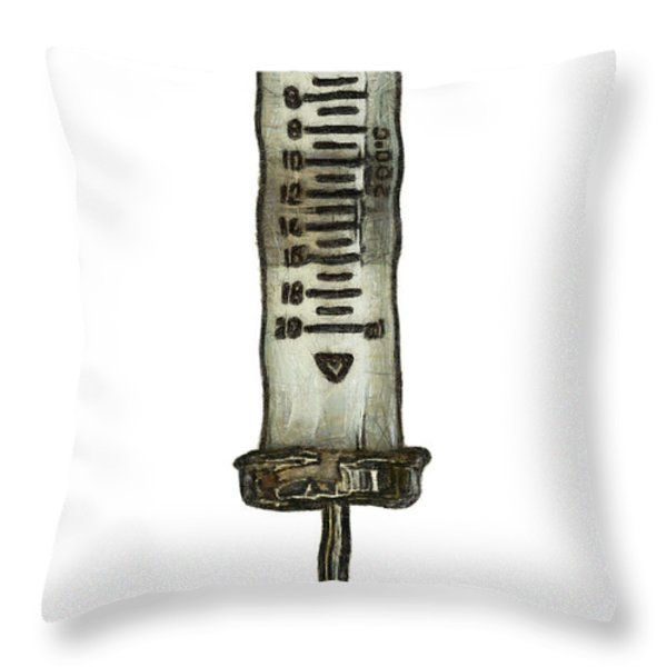 Syringe Throw Pillow by Michal Boubin