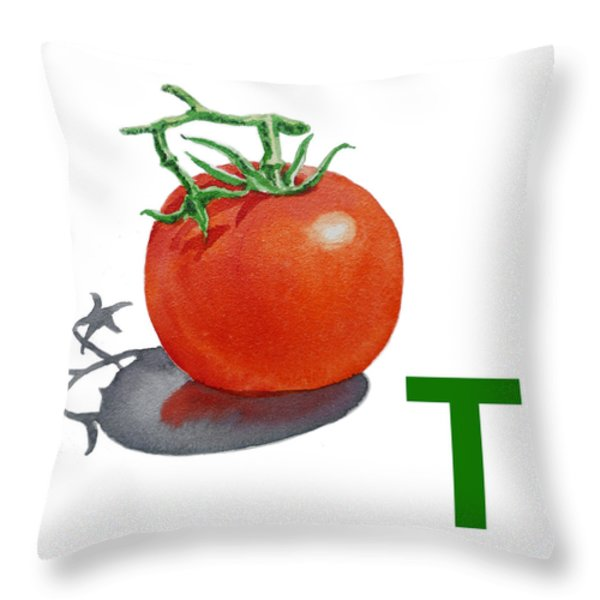 T Art Alphabet for Kids Room Throw Pillow by Irina Sztukowski