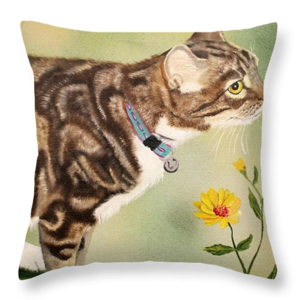 Tabby Throw Pillow by Debbie LaFrance