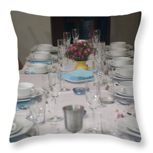 Table set for a Jewish Festive meal Throw Pillow by Ilan Rosen