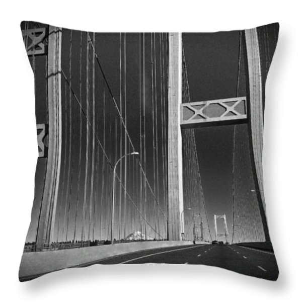 Tacoma Narrows Bridge B W Throw Pillow by Connie Fox