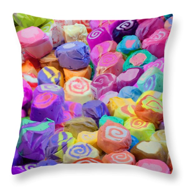 Taffy Candyland Throw Pillow by Alixandra Mullins