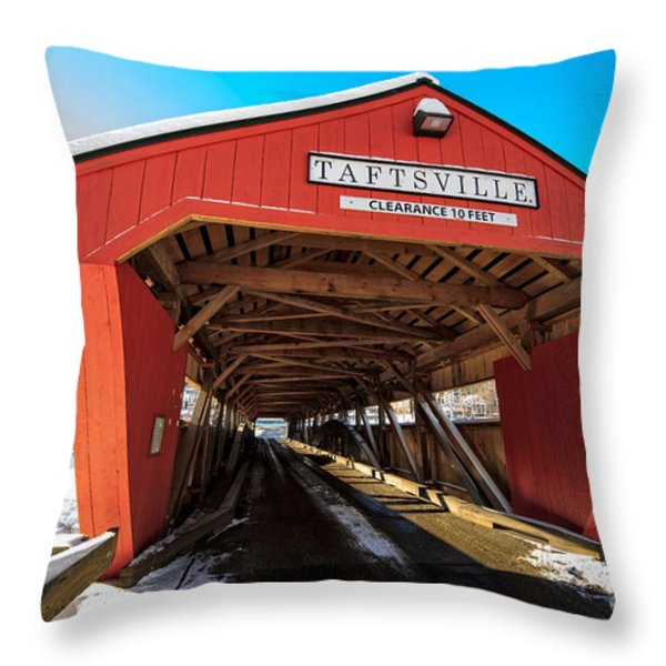 Taftsville Covered Bridge In Vermont In Winter Throw Pillow by Edward Fielding