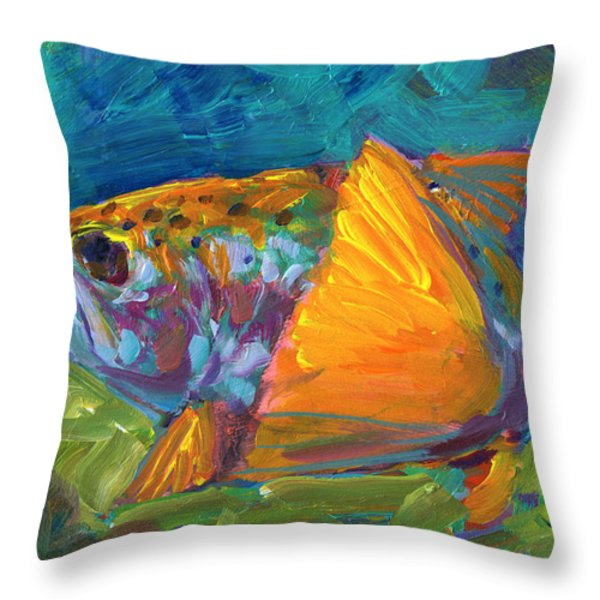 Tail View Trout Throw Pillow by Mike Savlen