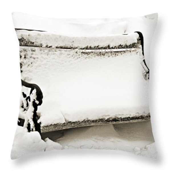 Take A Seat  And Chill Out - Park Bench - Winter - Snow Storm BW 2 Throw Pillow by Andee Design