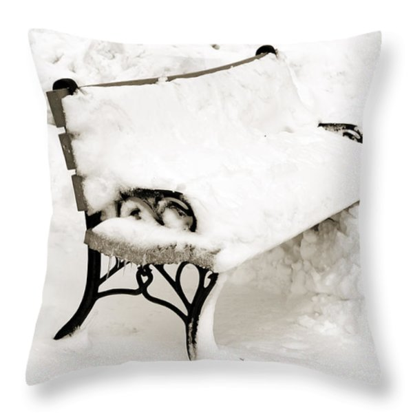 Take A Seat  And Chill Out - Park Bench - Winter - Snow Storm Bw Throw Pillow by Andee Design