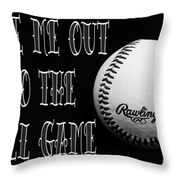 Take Me Out To The Ball Game - Baseball Season - Sports - B W 2 Throw Pillow by Andee Design