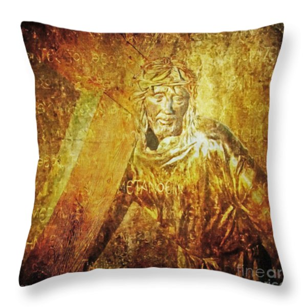 Takes Up The Cross  Via Dolorosa 2 Throw Pillow by Lianne Schneider